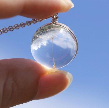 Botanical Dandelion Taraxacum Seed Glass Pendant Necklace