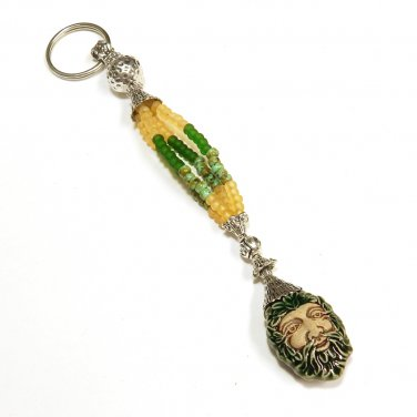 Wood Man Spirit Beaded Key Chain Handcrafted Unique Gift