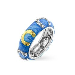 silver tone Enamel and clr Horseshoe eternity band blue