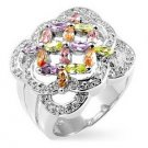 Silver Tone Multi-Colored CZ Flower Bouquet Ring