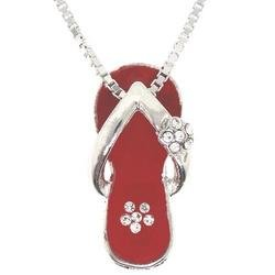 Red Enamel Cubic Zirconia Sterling Silver Slipper Pendant Necklace