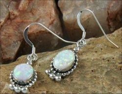 Oval Elegance White Opal Earrings
