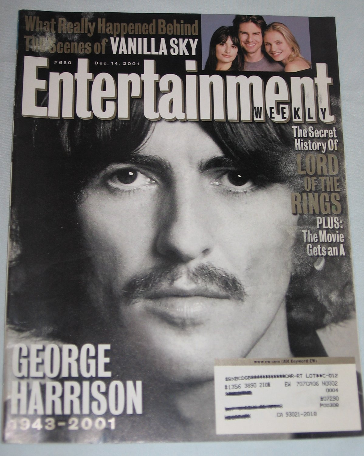 ENTERTAINMENT WEEKLY Magazine 630 George Harrison Lord of Rings Tom Cruise Vanilla Sky December 2001