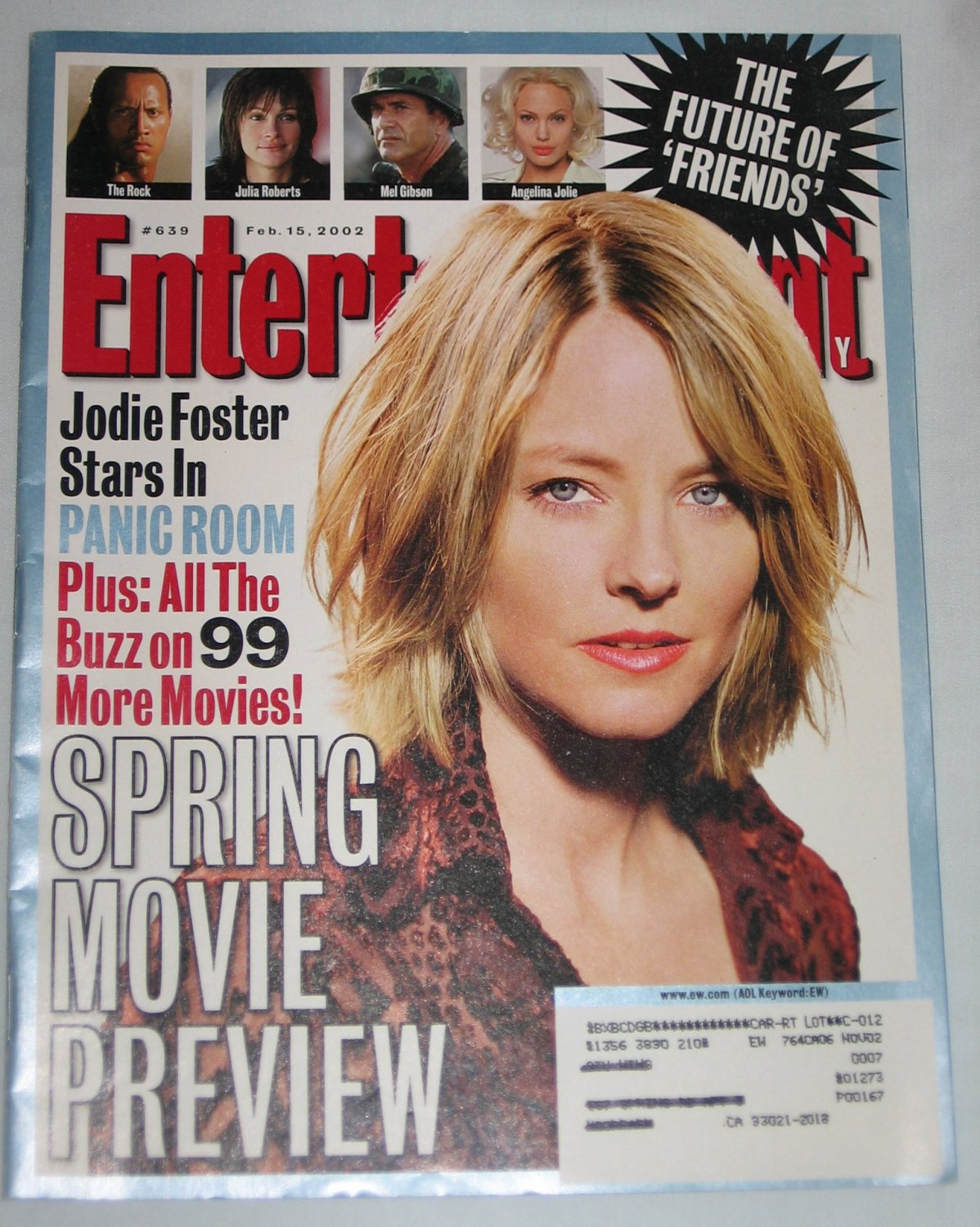 ENTERTAINMENT WEEKLY Magazine 639 Jodie Foster Panic Room The Future of Friends February 15 2002