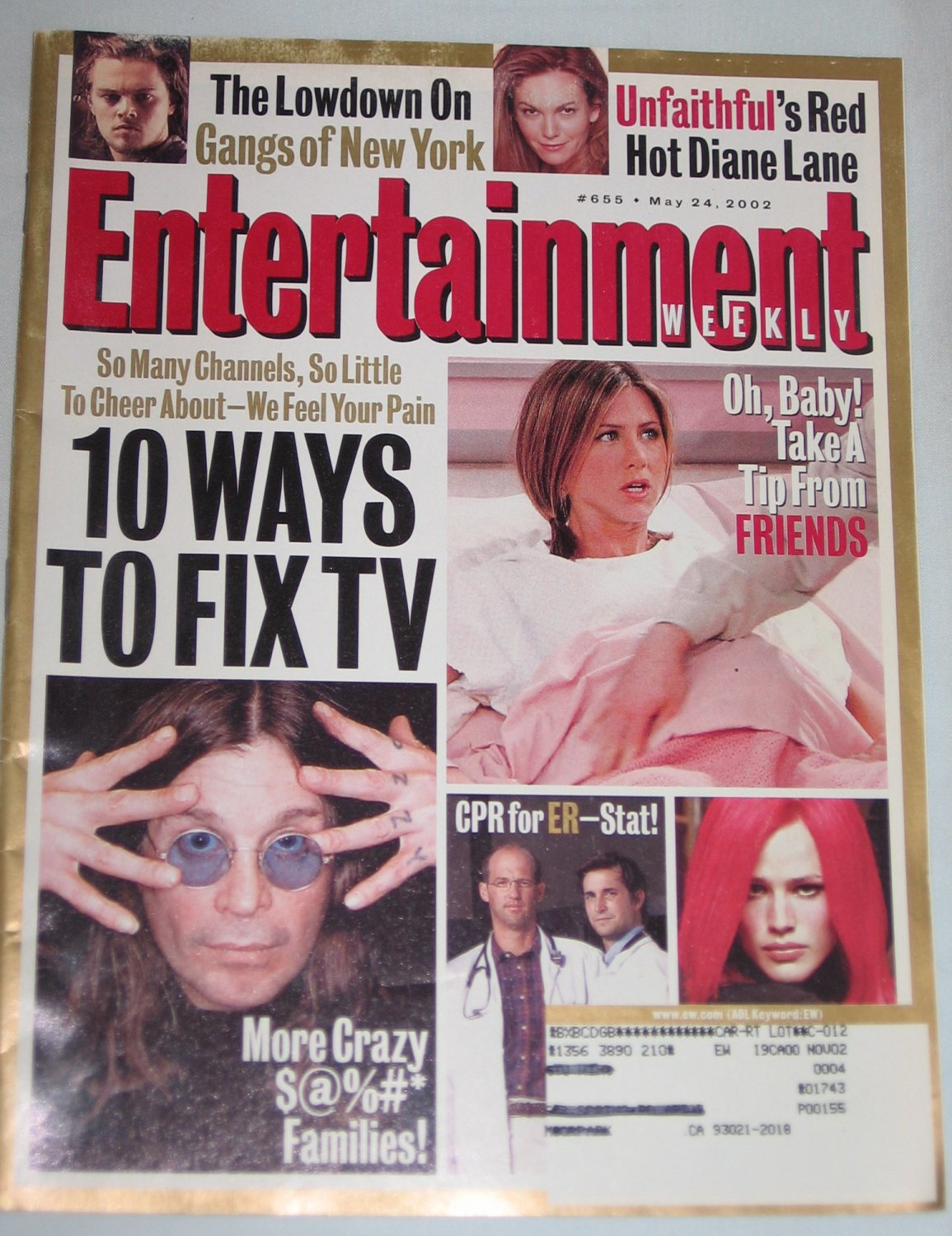 ENTERTAINMENT WEEKLY Magazine 655 Ozzie Osbourne Diane Lane Gangs of New York Friends May 24 2002