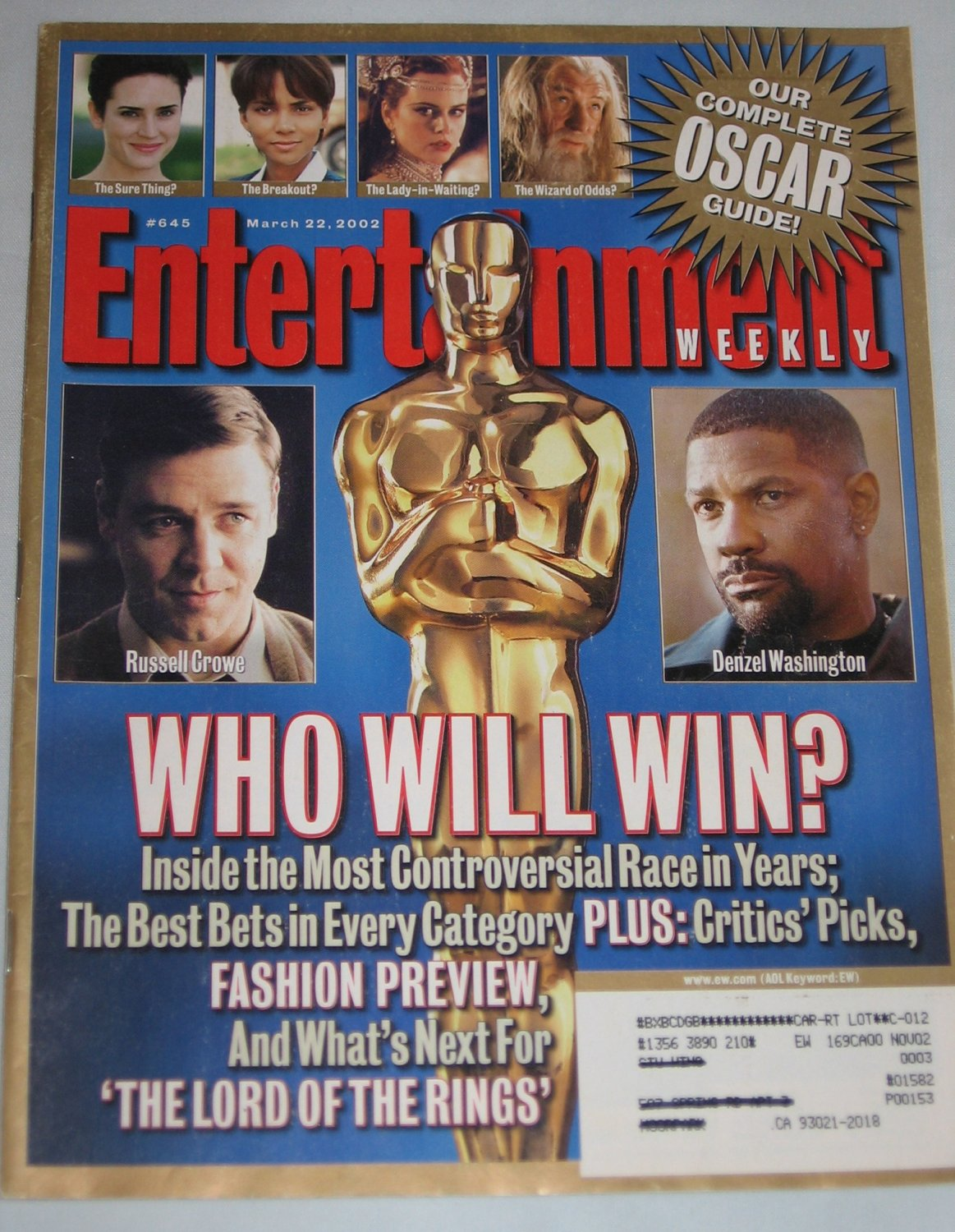 ENTERTAINMENT WEEKLY Magazine 645 Russell Crowe Denzel Washington Gilmore Girls March 22 2002
