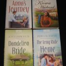 Lot of 4 Heartsong Series Inspirational Romance Books Dandelion Bride Long Ride Home Kiowa Husband +