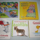 Lot of 5 Preschool BOARD BOOKS Animals Nursery Rhymes Tonka Trucks Mother Goose Gossie