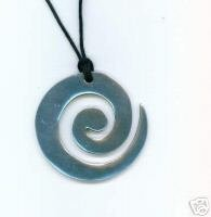 LARGE METAL MAORI STYLE KORU PENDANT GOOD HEALTH