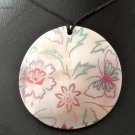 HANDPAINTED SHELL PENDANT FLOWERS AND BUTTERFLY