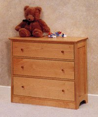 All Natural Solid Maple 3 Drawer Dresser by Pacific Rim - Classic