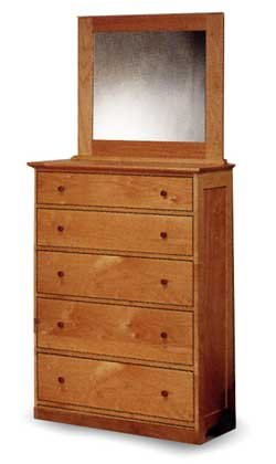 All Natural Solid Maple 5 Drawer Dresser by Pacific Rim - Classic