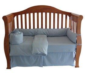 Organic Cotton Flannel Crib Comforter Duvet Cover - Blue/Khaki Print