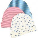 Organic Cotton Cap for Infants in Pink/White Stripe  6-12 months