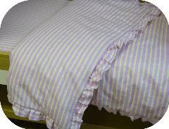 Organic Cotton Flannel Ruffled Crib Comforter Duvet Cover - Pink/Green Print