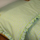 Organic Cotton Flannel Ruffled Crib Comforter Duvet Cover - Blue/Green Print