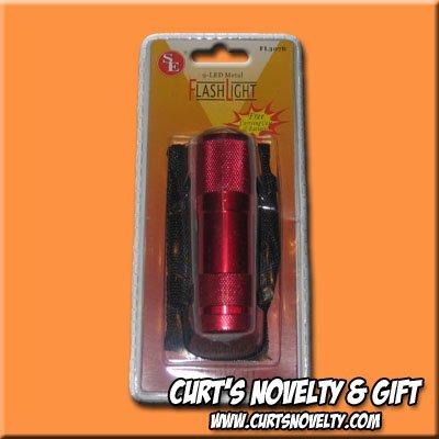 9 LED Red Anodized Emergency Camping Flashlight Flash Light