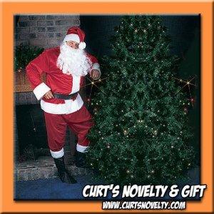 L - XL Faux Velvet Santa Claus Suit Costume Holiday Outfit 9 PCS