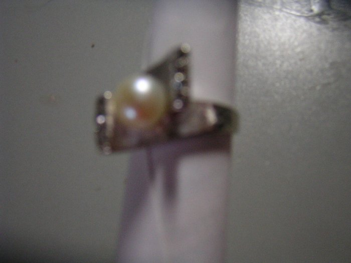 Ladies Pearl & Diamond Ring