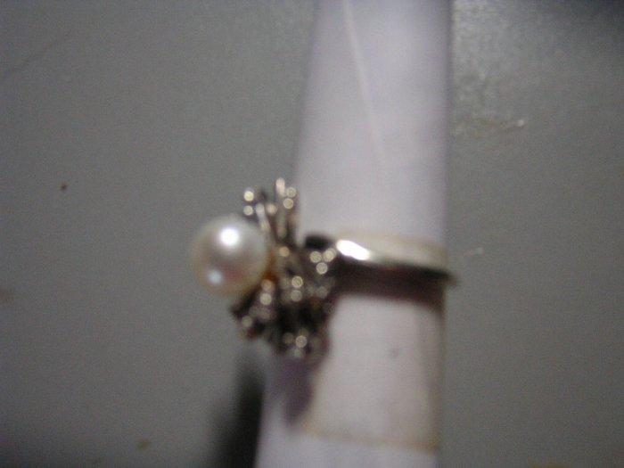 Ladies Pearl & Diamond Cluster Ring