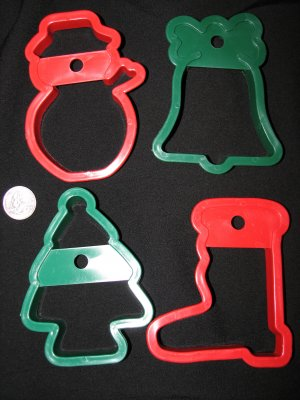 Christmas Holiday Cookie Cutters Set of Four Boot Bell Tree Snowman