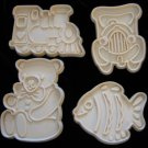 Hutzler Holiday Fish Teddy Bear Cookie Cutter Set of 4 Plastic Cutters