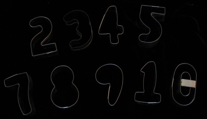 Metal Cookie Cutter Numbers 0 to 9 Set of 9 Cutters