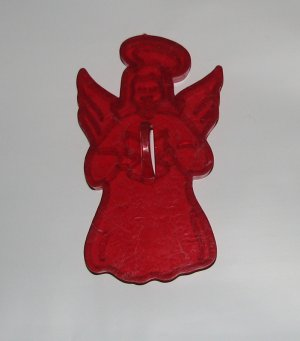 Vintage Holiday Clear Red Cookie Cutter One Christmas Angel