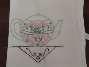 Hand Embroidered Dish Towels - Teapots