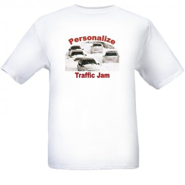 Personalize Traffic Jam - White t-shirt - Size Sm - XL