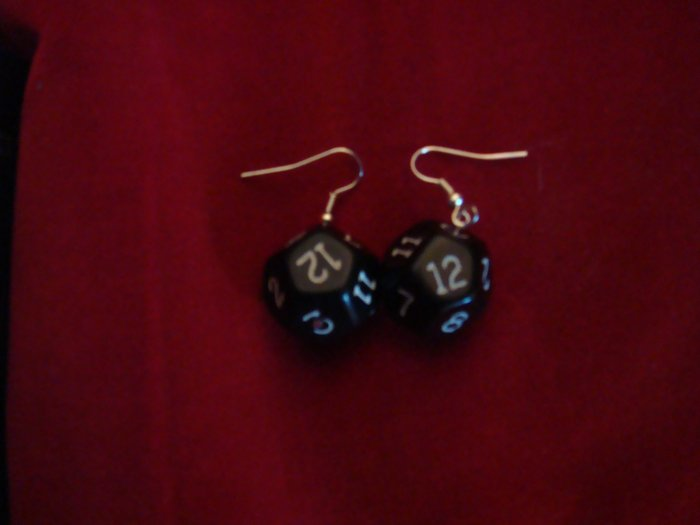 Black D12 Dice Earrings