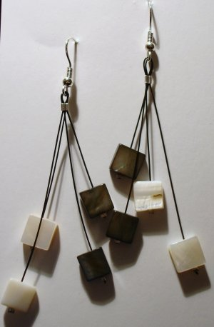 Black and White square dangling earrings