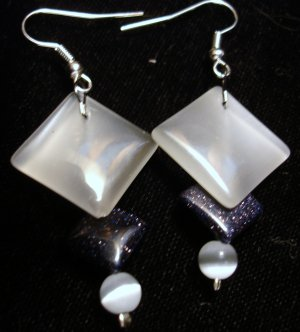 Tri Level Opal White and Sparkly Black earrings