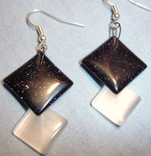 Sparkly Black with Opalecent White earrings