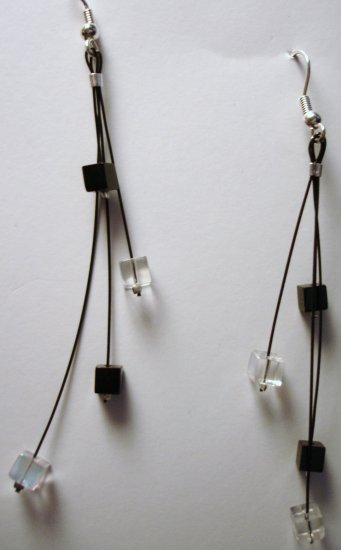 Modern Black and White Dangling Earrings