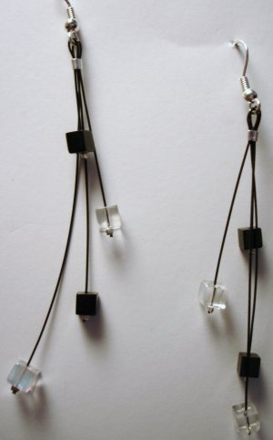 Modern Black and White Dangling Earrings