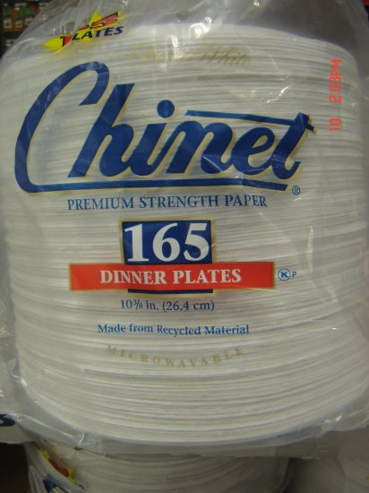 "Plates, Paper, 10"" diameter, 165 Count Pack"