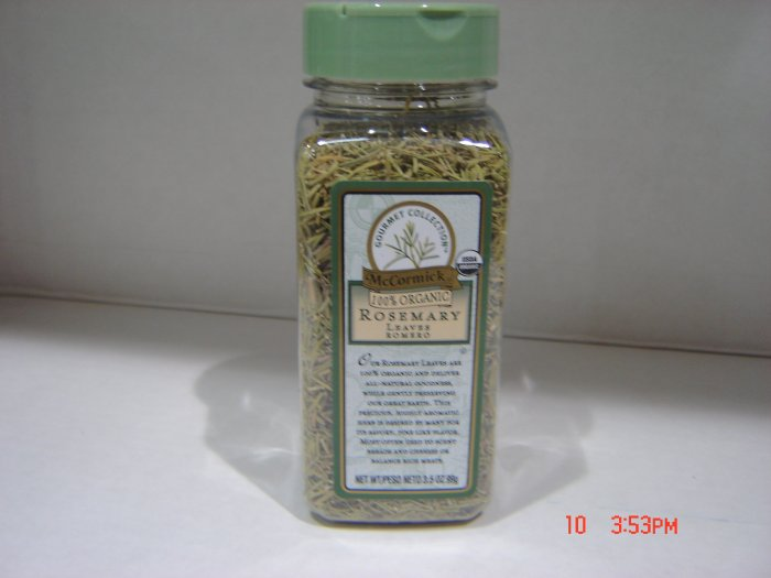 "Rosemary, ""100 Percent Organic"" Herb  0.22lbs.,99g. Bottle"