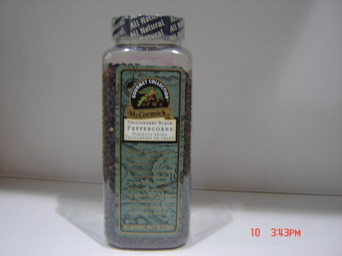 "Peppercorns, ""Gourmet Tellicherry""  1.19lbs.,540g. Bottle"