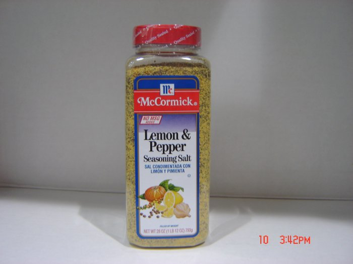 "Pepper-Salt Seasoning, ""Lemon Pepper""  1.75lbs.,795g. Bottle"