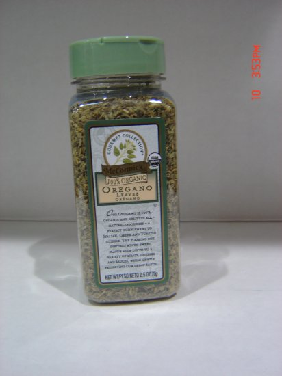 "Oregano, ""100 Percent Organic""  0.16 lbs., 70.0 gram  Bottle"