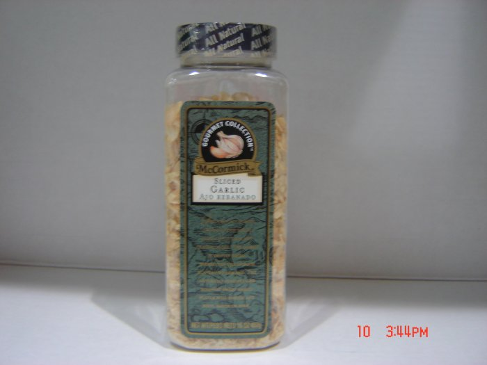 Garlic, Sliced    1.0 lbs., 454 grams Bottle