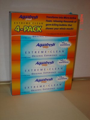 Toothpaste, Aquafresh, 4 tube (7 oz. each) pack (455 grams)