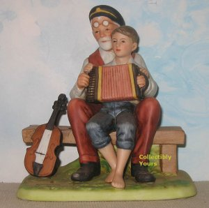 Norman Rockwell Museum MUSIC LESSON, Accordian Boy, figurine, porcelain, retired