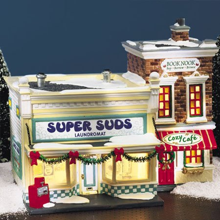 Department 56 Snow Village SUPER SUDS LAUNDROMAT,  55006,  retired in 2001,  MIB