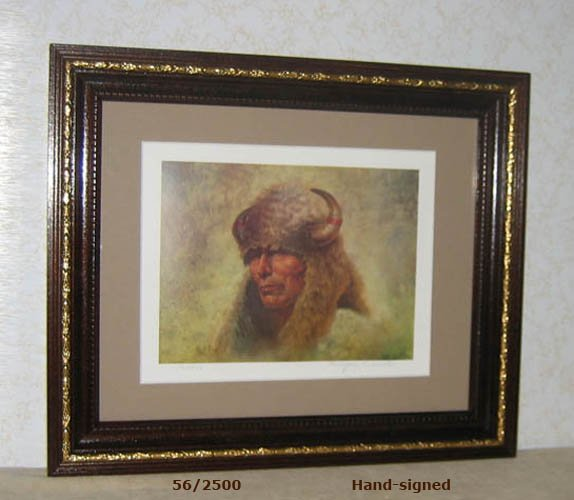 Gregory Perillo CHIEF RED CLOUD litho,  framed, hand-signed, NEVER displayed