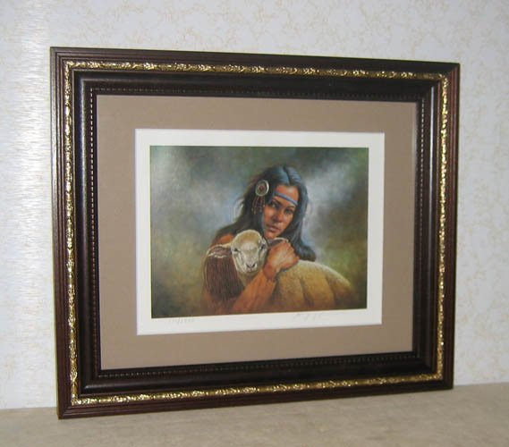 Gregory Perillo LILY OF THE MOHAWKS litho,  framed, hand-signed, NEVER displayed