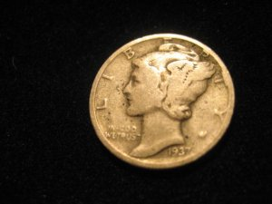 1937 Silver Mercury Dime