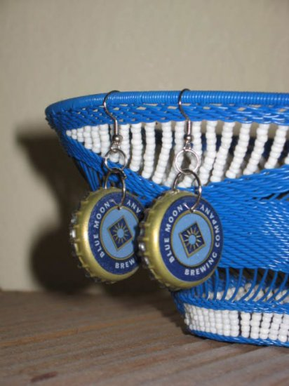 Recycled Bottle Cap Earrings Blue Moon Brewing Company