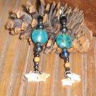 Long Starry Night Handmade Earrings Mother of Pearl Dangle